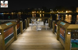 Table for two on the dock at the boat house
