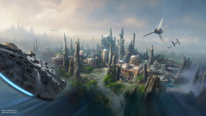 Released at Disney's D23 Expo in Anaheim, CA: concept art for a new, unnamed planet environment that will host all-new Star Wars Land expansions in both Disneyland in Anaheim, CA and Disney's Hollywood Studios in Orlando, FL. These new 14-acre expansions will feature two new thrilling Star Wars attractions based on the new films including THE FORCE AWAKENS opening in theaters December 18, 2015. ©2015 Disney Enterprises, Inc./Lucasfilm Ltd. All Rights Reserved. For editorial news use only.