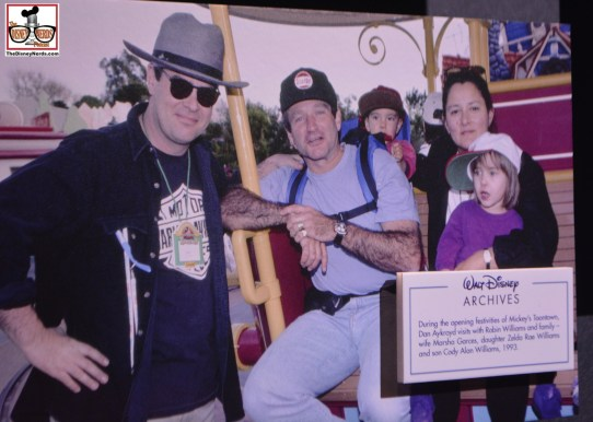 Robin Williams and Dan Aykroyd help open Mickey's Toontown at Disneyland in 1993