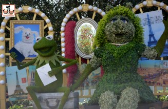 Kermit and Ms. Piggly topiary's from Flower and Garden have found a home at Disney Springs... Promoting the new ABC TV Show... Could they be getting back together???
