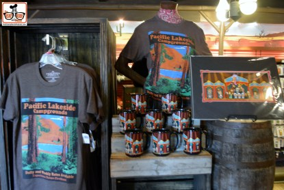 """New """"Pacific Lakeside Campgrounds"""" merchandise in Frontierland."""