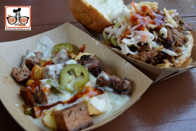 DNP April 2016 Photo Report: Epcot Flower and Garden Festival.. From the Smokehouse. Pulled Pig Slider with Crispy Onions and Coleslaw and Beef Brisket Burnt Ends Hash with White Cheddar Fondue and Pickled Jalapenos.