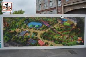 DNP April 2016 Photo Report: Hollywood Studios - Concept Art on Construction walls at the dead end past Toy Story mania