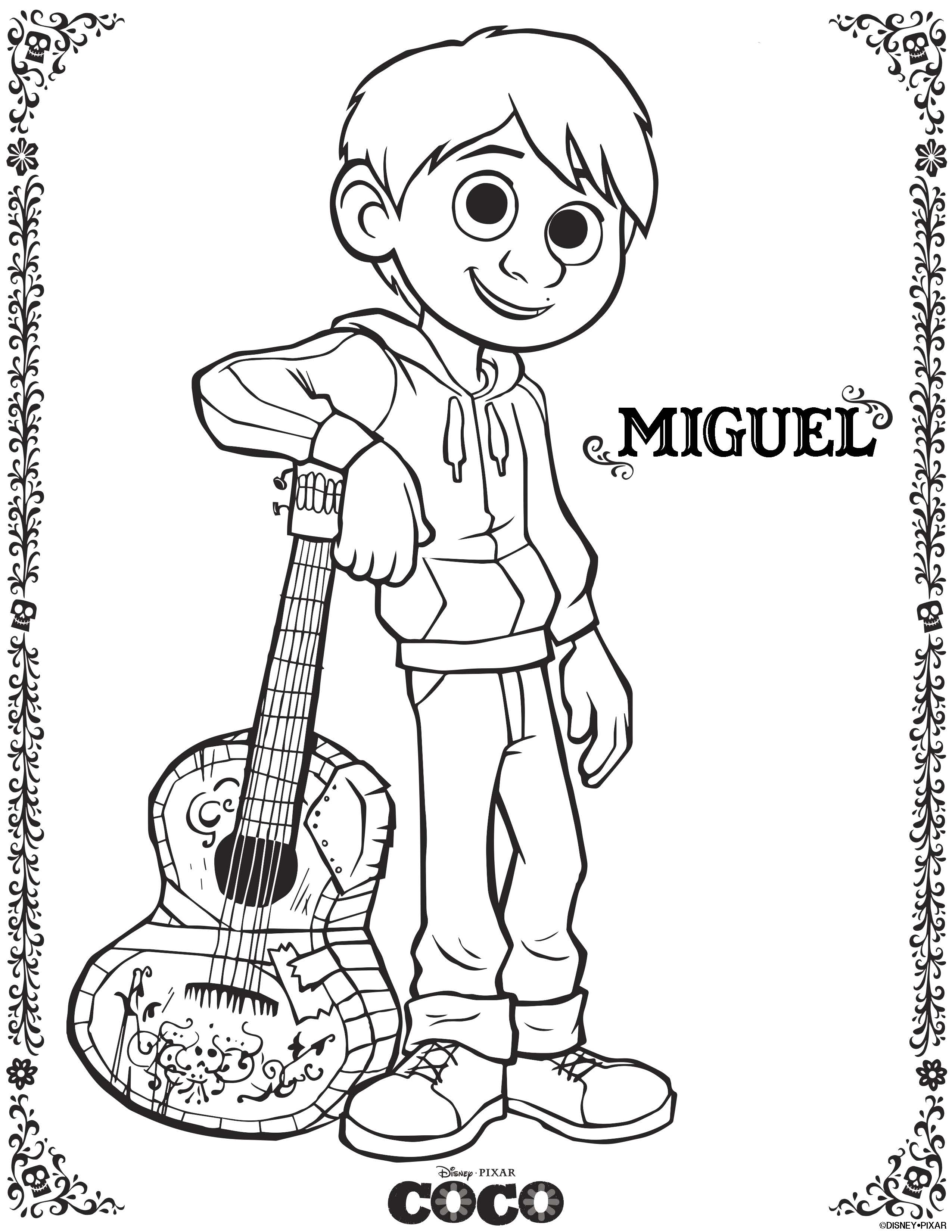disney pixar u0027s coco preview with coloring pages and a family fun