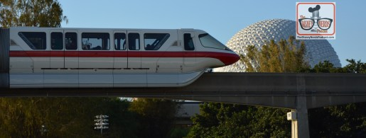 What does a Monorail passing Spaceship earth have to do with Food and wine festival? Nothing - but it's a Monorail passing spaceship earth.