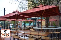 Outdoor seating at the BaseLine Tap House