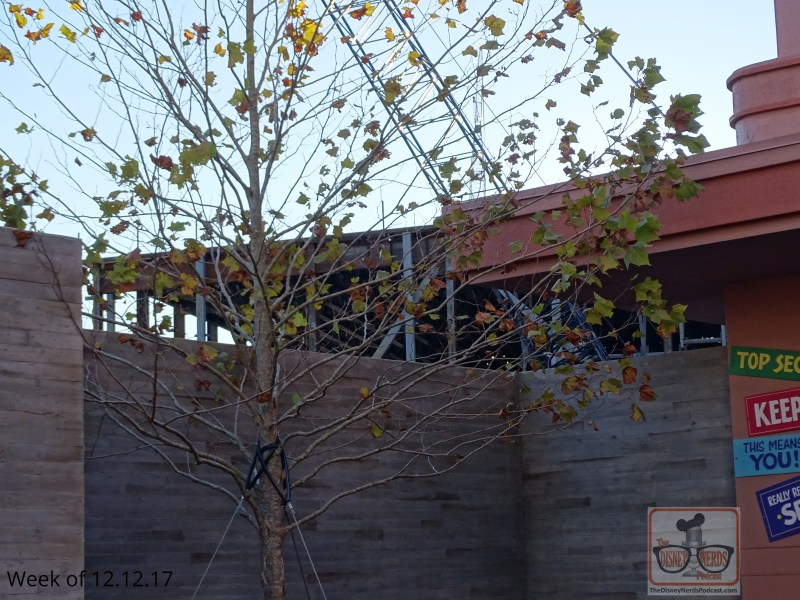 To begin, that blue construction wall in front of the big gate at the end of Muppet Vision we have been closely watching is now gone. Trees now surround the gate with one perfectly planted in front of the construction of Battu. (photo by John Capos)