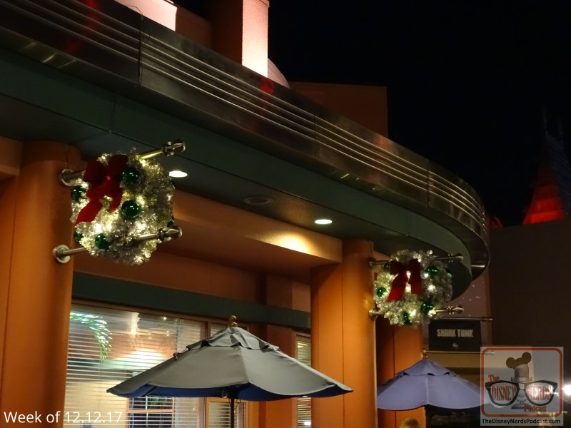 While park-wide Christmas decorations have brightened spirits since early November, the ABC Commissary is now in line and decked out in holiday color. The Christmas wreaths aligning the outside are a special touch so make sure to see them at night time.