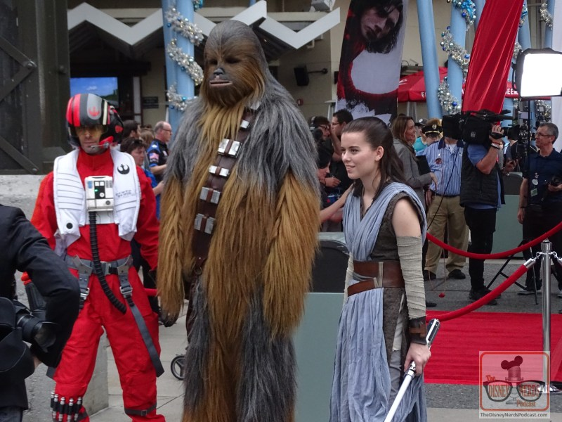Rey, Chewie and Poe at Last Jedi Premiere at Disney Springs. (Photo by John Capos)