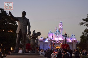 Walt and Mickey in front of Sleeping Beauty Castle for the Holiday Season