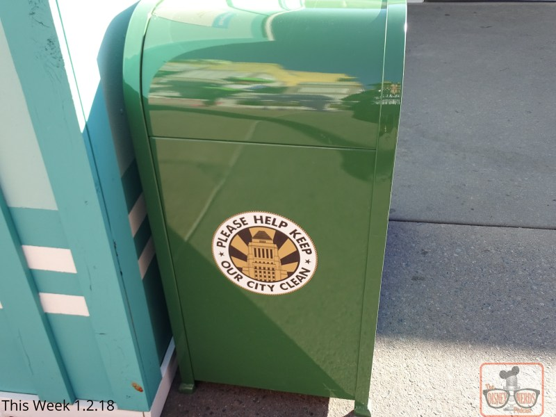"""The logo on the Park trash receptacles is going through a transformation, in case you haven't noticed. Slow but sure, the iconic Chinese Theater logo is gradually giving way to the Carthay Circle image. The Disney line to """"Keep our city clean"""" remains. For a collectable photo of the old logo before they vanish, check out the trash cans near the front of the park at Hollywood and Sunset Blvd."""