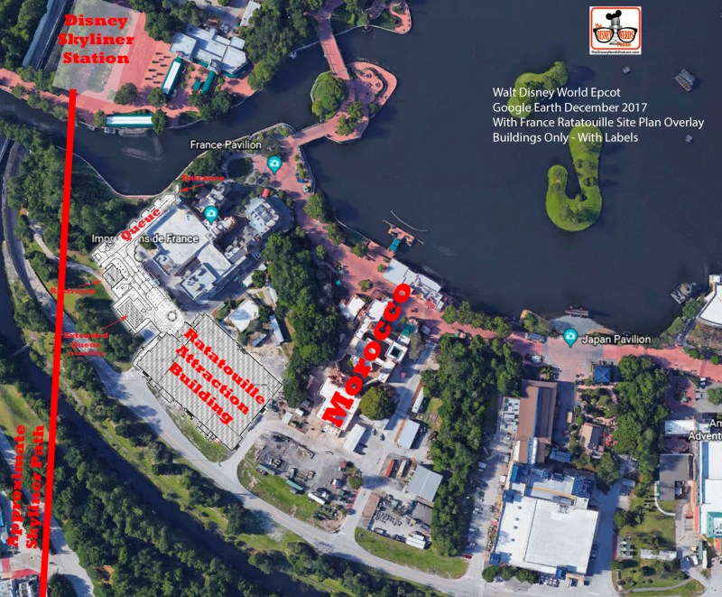 Overlay of the Building Only to the Google Earth Image - with labels and Disney Skyliner Station