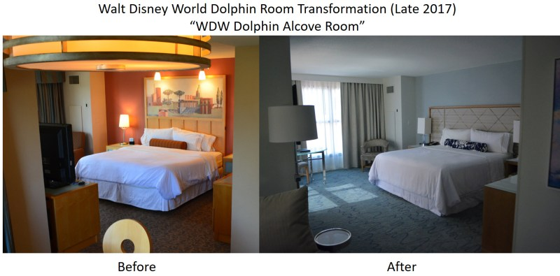 Walt Disney World Dolphin Room Transformation - Alcove Room Before and After