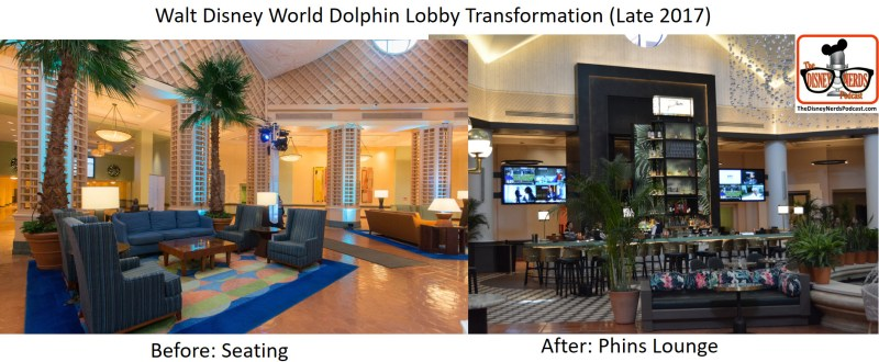 Walt Disney World Dolphin Lobby Transformation - Before and After - From Seating to Phins Lounge
