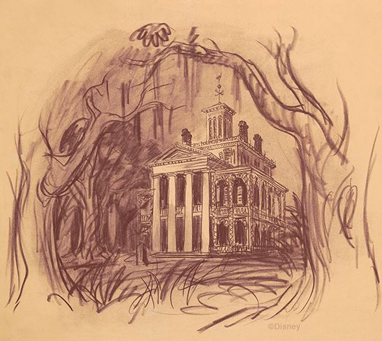 Haunted Mansion Concept Art by Ken Anderson, 1957.