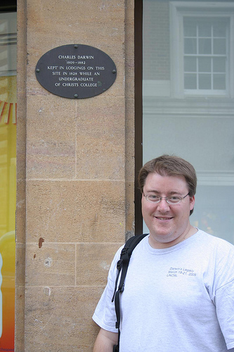 Michael at site of Darwin's 1828 lodgings (Photo by Richard Carter)