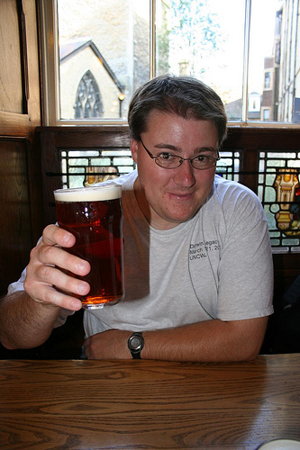 Enjoying Old Speckled Hen, the Eagle Pub, Cambridge, England (Photo by Richard Carter)