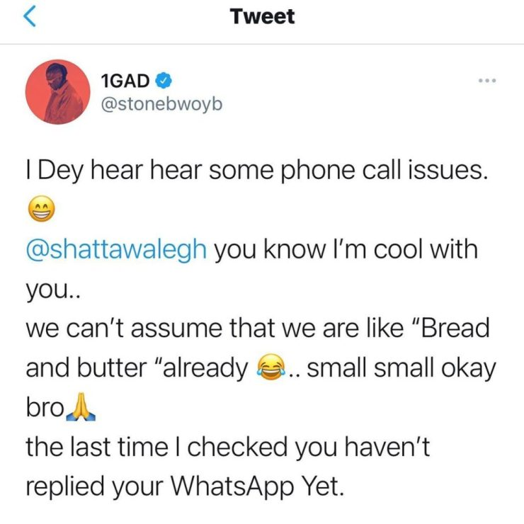 Stonebwoy Replies Shatta Wale After He Said Stonebwoy Doesn't Answer His Phone Calls Anymore. 4