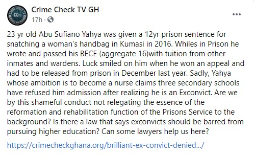 23-Year-Old Ex-convict With Good BECE Grades Denied Admission By 3 Senior High Schools In Ghana 2