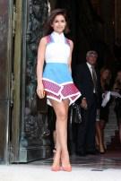 Miroslava Duma arrives at the Versace show as part of Paris Fashion Week Haute-Couture Fall/Winter 2013-2014 in Paris