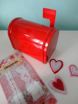 Miniature mailbox from Target ($1), felt heart stickers from Target ($1), lace self-adhesive tape from Daiso ($1.50)