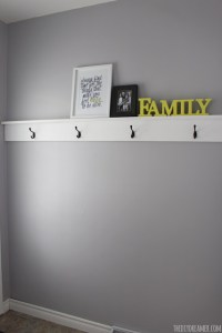 Small Entryway Makeover and Decorative Shelf with Hooks DIY Wood Shelving with Hooks