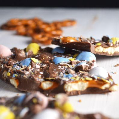 Cadbury Egg and Pretzel Bark