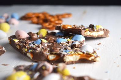 Cadbury Egg and Pretzel Bark
