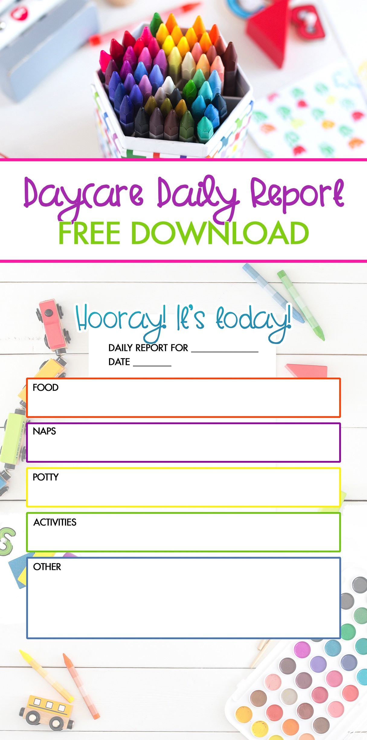 Free Daycare Daily Report Printable Pinterest