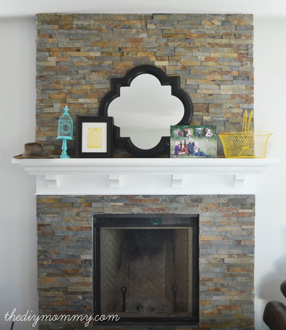 https thediymommy com building our fireplace installing the slate split face tile our diy house