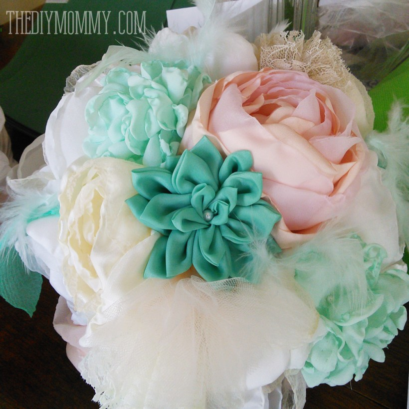 fabric flower wedding bouquet tutorial   deweddingjpg.com