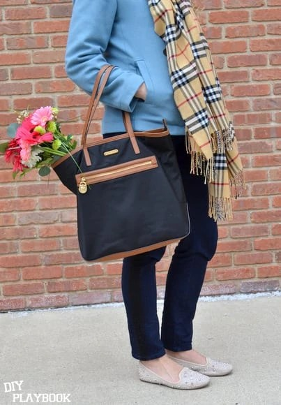 Michael Kors bag with fresh flowers