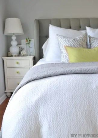 White-Bed-Gray-Headboard