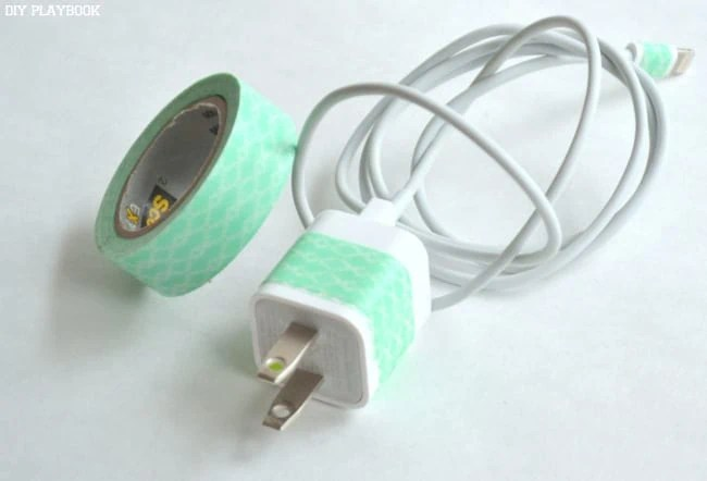 Green-Washi-Tape-Phone-Charger