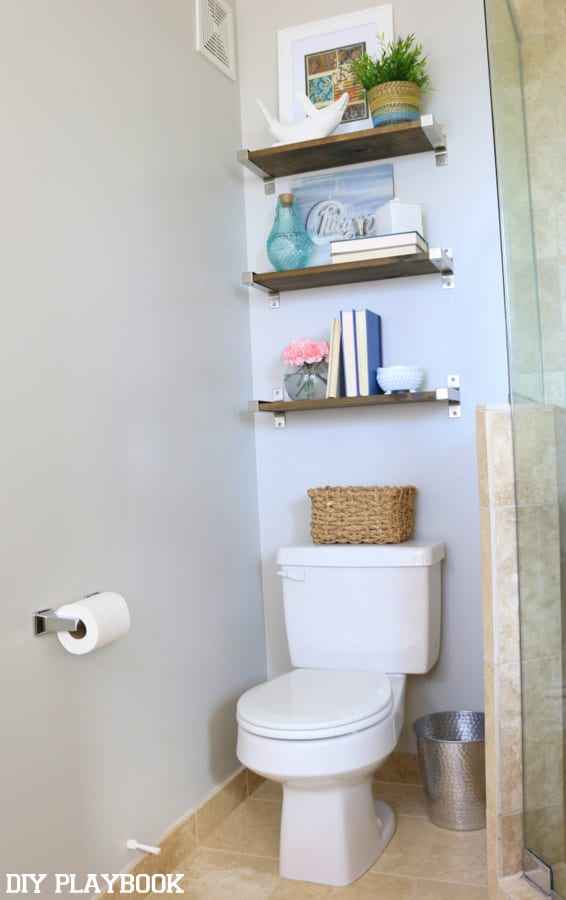 Wide Shot Bathroom Shelves