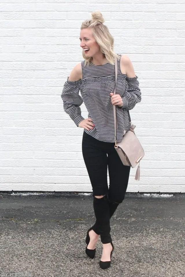 Gingham-cold-shoulder-blouse-fashion-bridget-heels