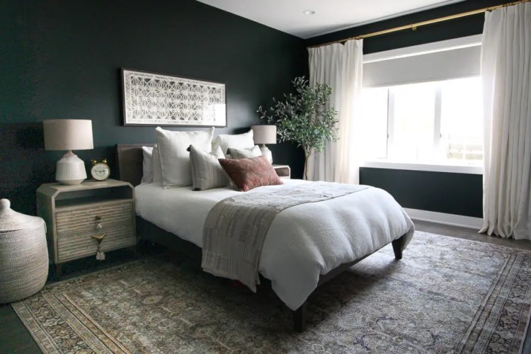 Dark Green Guest Room With Boho Style The Diy Playbook