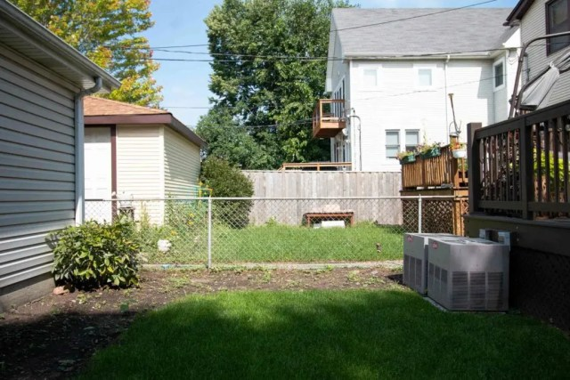 Our chain link fence before