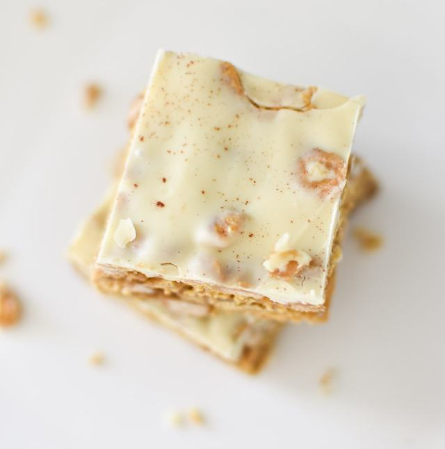 Overhead shot of gluten free white chocolate cereal bars