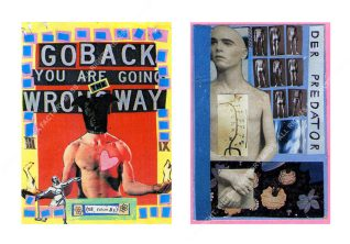 GO BACK YOU ARE GOING THE WRONG WAY & DER PREDATOR Paper Collage. 15 x 10 cm [Both] 1992.