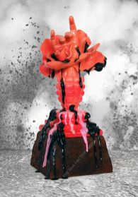 HANDFLOWERGRENADE [PINK] Cast, Sculpted & Poured Resin, Wood, Simulated Rust [Sand, Resin], Paint, Lacquer. 33 x 13 x 13 cm. 2015. 1/1