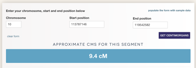 Image from the centimorgan estimator with a segment of 9.4 cM.