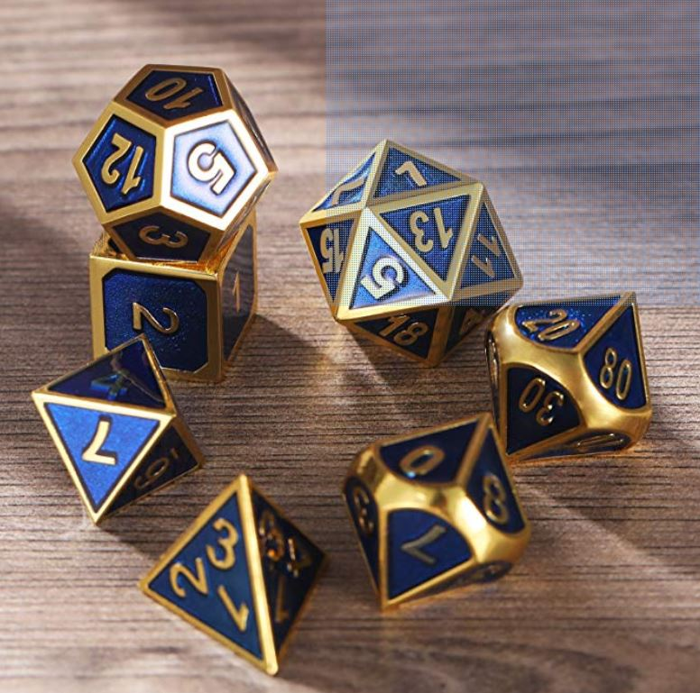 gold and blue dice