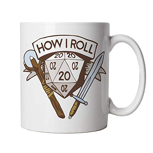 How I Roll Mug | Dungeons Dragon D&D DND Pathfinder 3.5 Tarrasque | Crimson Throne Polyhedral D20 Fifth 5th Edition | Hobbies Cup Gift