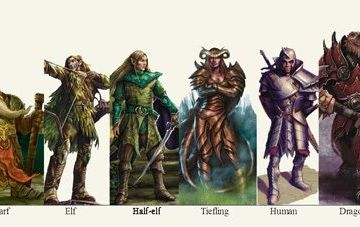 examples of D&D races lined up