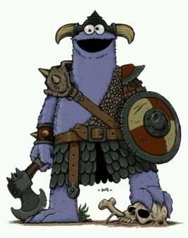 Cookie monster dressed as a barbarian.