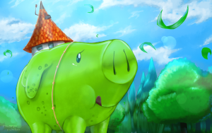 Giant green pig wearing a tavern has a hat.