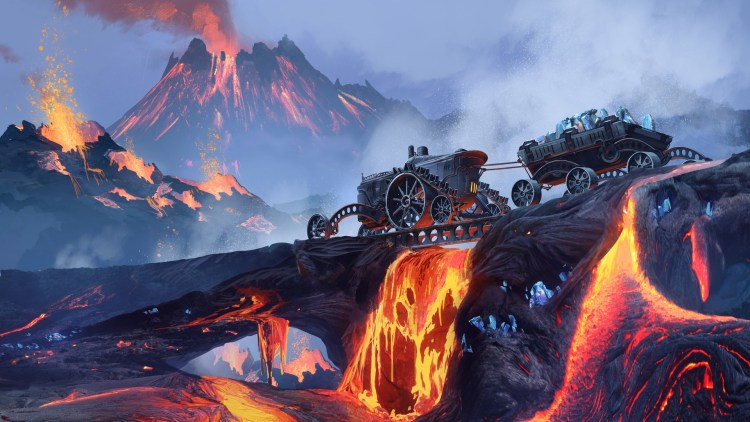 A Steampunk vehicle travelling across a volcanic waste