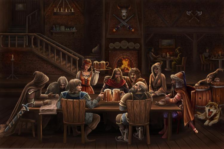 Several adventurers at a table at a tavern