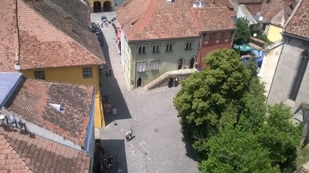 Central Sighișoara as seen from the Clock Tower.